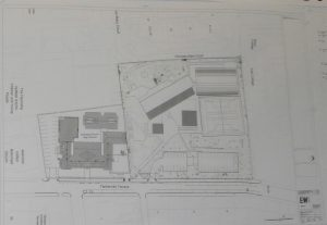 EWA architect's site plan showing the Church High campus, including Sports Hall top right, as it was in 2014.