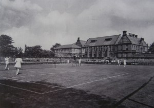 This post 1950s image (note the absence of the bell tower) show the Fleming courts 'over the wall' are still being used.