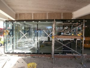 The glass entrance doors have now been fitted.