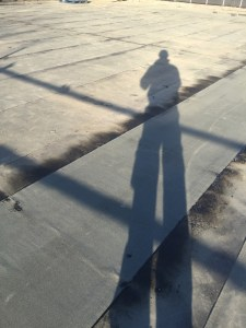 The shadowy Giuseppe on the roof terrace on Friday 20th.