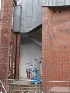 The building plaque is still in place, but the Science Block side entrance has been temporarily removed.