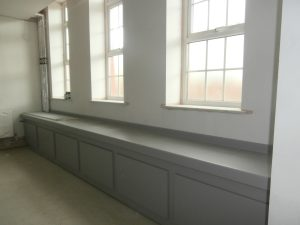 The washbasins in the girls' toilets now line the east wall.