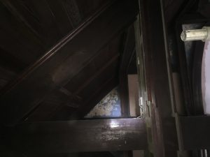 The Hall's dark-stained, red wood hammer beams must have once looked magnificent against plaster painted sky blue.