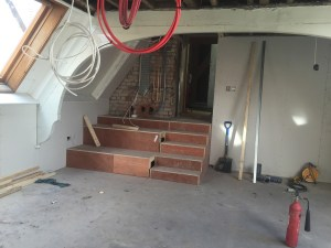 The new steps in the last office created in the eaves.