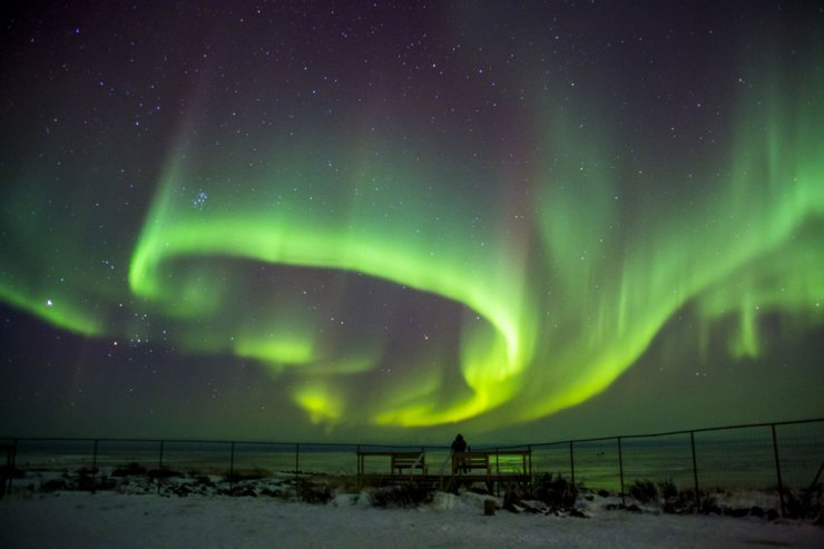 Aurora borealis dancing at Seal River Lodge. Dennis Fast photo.