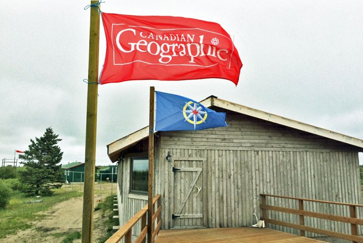 RCGS and Canadian Geographic Flags from Franklin discovery expedition displayed at Nanuk Polar Bear Lodge.