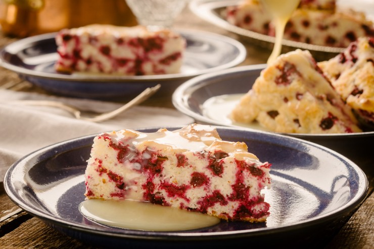 Wild Arctic Cranberry Cake with warm butter sauce.