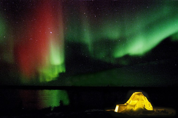 A rare red in the northern lights.