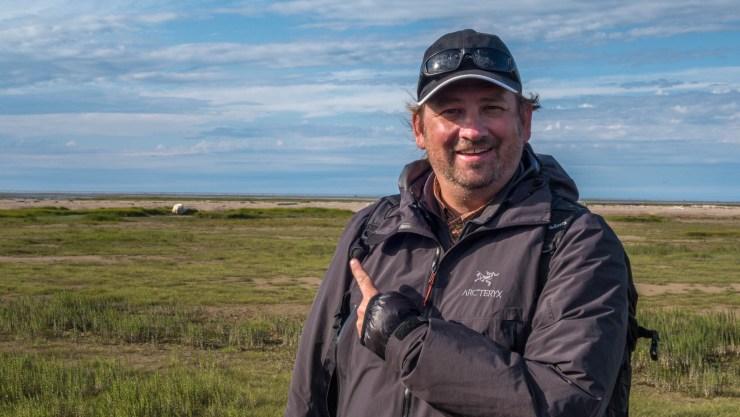 Dave, a big smile and a polar bear, at Nanuk Polar Bear Lodge in 2015. Click image more photos from the trip.