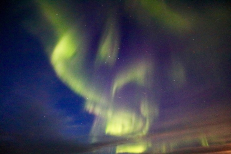 Northern lights at Seal River Heritage Lodge in early August.