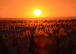 Sunset over boreal forest. Dymond Lake. Laurie McLeish photo