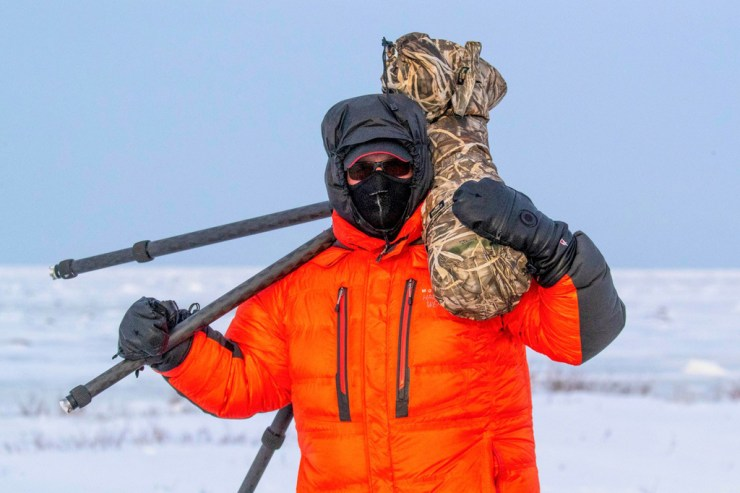 """Gloves. Mask. Camera. Charles """"Chas"""" Glatzer ready for action at Seal River Heritage Lodge."""
