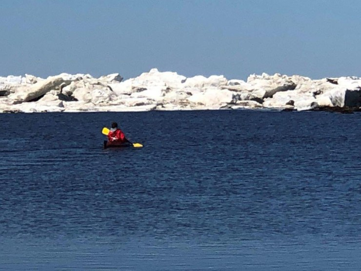On the edge of the ice floe. Hudson Bay.