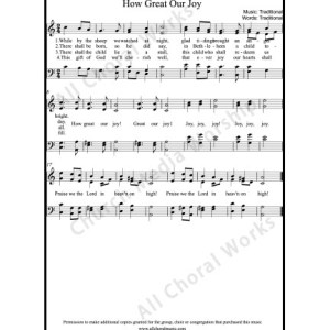 How great our joy Sheet Music (SATB) Make unlimited copies of sheet music and the practice music.