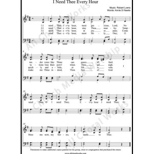 I need thee every hour Sheet Music (SATB) Make unlimited copies of sheet music and the practice music.