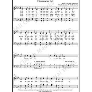 I surrender all Sheet Music (SATB) Make unlimited copies of sheet music and the practice music.