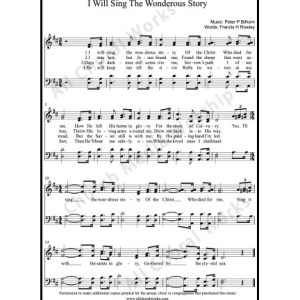I will sing the wonderous story Sheet Music (SATB) Make unlimited copies of sheet music and the practice music.