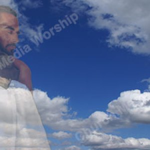 Jesus Hugging a Child Blue Sky Christian Worship Background. High quality worship images for use to spread the Gospel and enhance the worship experience.