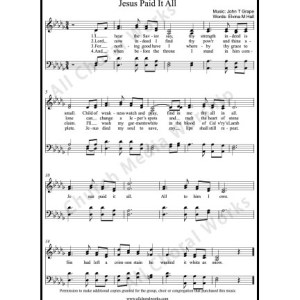 Jesus paid it all Sheet Music (SATB) Make unlimited copies of sheet music and the practice music.