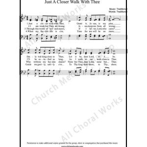 Just a closer walk with thee Sheet Music (SATB) Make unlimited copies of sheet music and the practice music.
