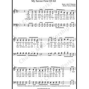 My Savior first of all Sheet Music (SATB) Make unlimited copies of sheet music and the practice music.