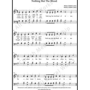 Nothing but the blood Sheet Music (SATB) Make unlimited copies of sheet music and the practice music.
