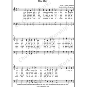 One day Sheet Music (SATB) Make unlimited copies of sheet music and the practice music.