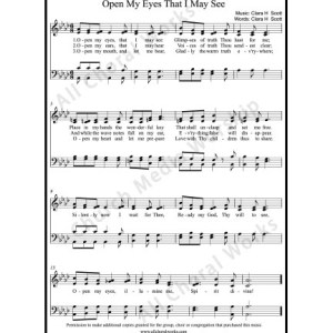 Open My Eyes That I May See Sheet Music (SATB) Make unlimited copies of sheet music and the practice music.
