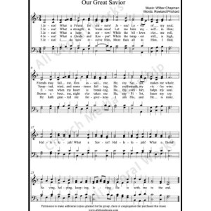 Our great savior Sheet Music (SATB) Make unlimited copies of sheet music and the practice music.