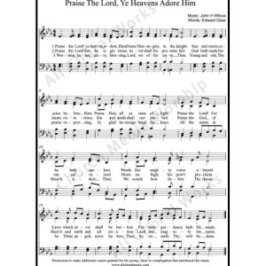Praise the Lord ye heavens adore him Sheet Music (SATB) Make unlimited copies of sheet music and the practice music.