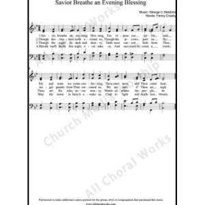 Savior Breathe an Evening blessing Sheet Music (SATB) Make unlimited copies of sheet music and the practice music.