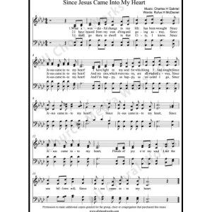 Since Jesus came into my heart Sheet Music (SATB) Make unlimited copies of sheet music and the practice music.