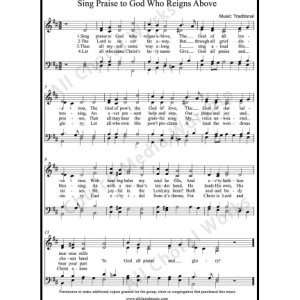 Sing praise to God who reigns above Sheet Music (SATB) Make unlimited copies of sheet music and the practice music.