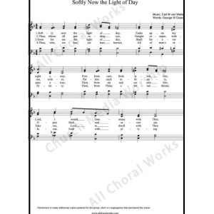 Softly now the light of day Sheet Music (SATB) Make unlimited copies of sheet music and the practice music.