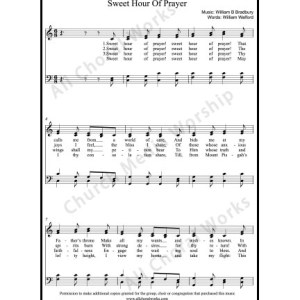 Sweet Hour of Prayer Sheet Music (SATB) Make unlimited copies of sheet music and the practice music.