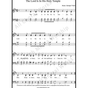 The Lord is in his holy temple Sheet Music (SATB) Make unlimited copies of sheet music and the practice music.