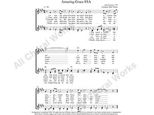 Amazing Grace Female Choir Sheet Music SSA 3-part Make unlimited copies of sheet music and the practice music.