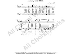 Amazing Grace Male Choir Sheet Music TTBB 4-part Make unlimited copies of sheet music and the practice music.