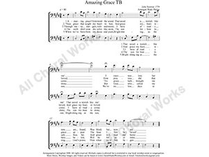 Amazing Grace Male Choir Sheet Music TB 2-part Make unlimited copies of sheet music and the practice music.