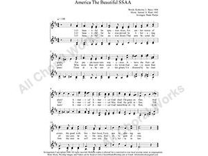 America The Beautiful Female Choir Sheet Music SSAA 4-part Make unlimited copies of sheet music and the practice music.