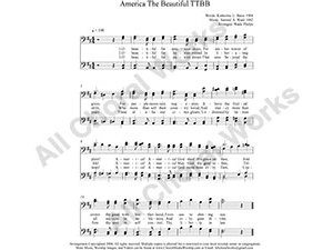 America The Beautiful Male Choir Sheet Music TTBB 4-part Make unlimited copies of sheet music and the practice music.