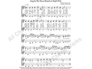 Angels We have Heard on High Female Choir Sheet Music SSA 3-part Make unlimited copies of sheet music and the practice music.