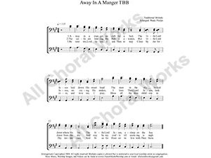 Away in a manger Male Choir Sheet Music TBB 3-part Make unlimited copies of sheet music and the practice music.