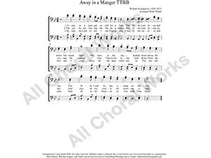 Away in a manger Male Choir Sheet Music TTBB 4-part Make unlimited copies of sheet music and the practice music.