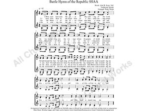 Battle Hymn Female Choir Sheet Music SSAA 4-part Make unlimited copies of sheet music and the practice music.