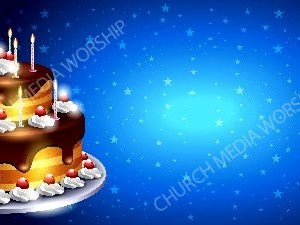 Birthday Cake Blue Star background Christian Worship Background. High quality worship images for use to spread the Gospel and enhance the worship experience.