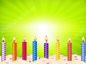 Birthday candles Green starburst background Christian Worship Background. High quality worship images for use to spread the Gospel and enhance the worship experience.