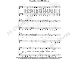 Christ Liveth in Me Female Choir Sheet Music SSAA 4-part Make unlimited copies of sheet music and the practice music.