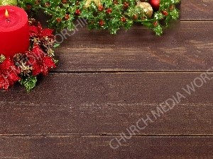 Christmas Red Candle evergreen wood table Background Christian Worship Background. High quality worship images for use to spread the Gospel and enhance the worship experience.