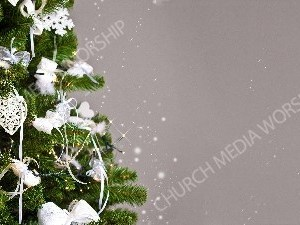 Christmas tree white trimming gray background Christian Worship Background. High quality worship images for use to spread the Gospel and enhance the worship experience.
